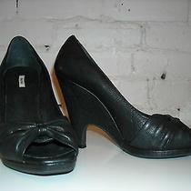 Miu Miu Black Leather Open Toe Wedge Heels 38 Photo