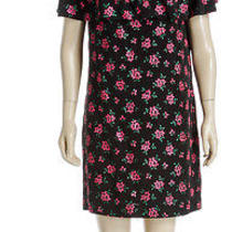 Miu Miu Black Multicolor Short Sleeve Floral Print Ruffle Trim Dress (Size 42) Photo