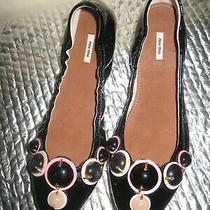 Miu Miu Black Patent Leather Flat Shoes. Size 37. New. Photo