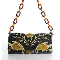 Miu Miu Black Yellow Velvet Floral Print Plastic Ring Medium Shoulder Bag Photo
