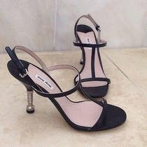 Miu Miu Bolt Heel T Strap Black Leather Sandals Heel 38.5  8.5 New Strappy Screw Photo