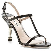 Miu Miu Bolt Heel T Strap Black Leather Sandals Size 39.5 New Strappy Screw Photo