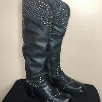 Miu Miu by Prada Black Leather Studded Biker Boots Sz. 38 Photo