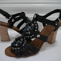 Miu Miu by Prada Black Leather Studded Gladiator Heels Sandals Size 40 Worn Once Photo