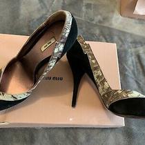 Miu Miu by Prada Black Suede Platform Heels Pumps Sz 38.5 Eu 8.5 Us Photo