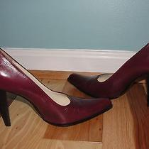 Miu Miu by Prada Burgundy Wine Classic Heels Pumps Sz 37 7 Leather Made in Italy Photo