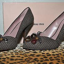 Miu Miu by Prada Houndstooth Jeweled Beaded Tweed Pumps Shoes Sz 37 Us 7 Euc Photo