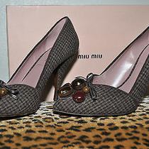 Miu Miu by Prada Houndstooth Jeweled Beaded Tweed Pumps Shoes Sz 37 Us 7 Euc Photo