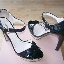 Miu Miu  by Prada Shoes Espadrille Pumps Black Patent Zipper Sz 41.5 Us 11.5 New Photo