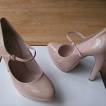 Miu Miu by Prada Shoes Pumps Flare Heels Mary Jane Nude Patent Sz 40 Us 9.5 New Photo