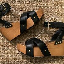 Miu Miu by Prada Wooden Black Leather Platform Wedge Sandals Shoes 100% Auth 38 Photo