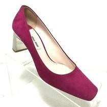 Miu Miu Crystal Heel Suede Pump Shoes Size 36.5 Made in Italy Photo