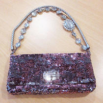 Miu Miu Crystal Necklace Strap Pink & Silver Sequin Bag W/dustbag & Tag/card Photo
