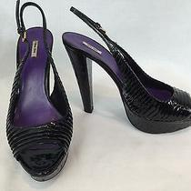 Miu Miu Italy Plisse Patent Black Lacquered Cork Platform Peep Toe Slingback 38 Photo