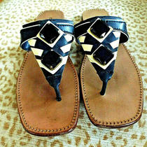 Miu Miu Italy Sz 38/8m Leather Thong Sandals Black Beige Photo