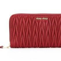 Miu Miu Matelasse Cherry Quilted Leather Zip-Around M Wallet  5ml506   Photo