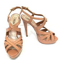 Miu Miu Multi-Strap Patent Leather Platform Sandals / Blush / Rrp 400.00 Photo