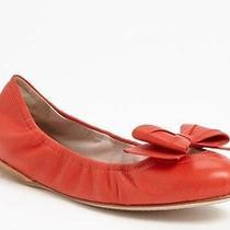 Miu Miu Orange Leather Bow Toe Ballet Flats Size 39.5 Scrunch Slip on Nib Photo