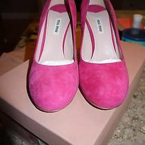 Miu Miu Pink Suede Glitter Heel Pump Photo