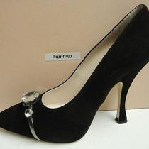 Miu Miu Prada Black Suede Pointed Toe Faceted Crystal Pumps Heels Shoes 41 Photo