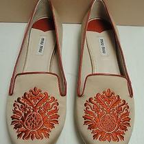 Miu Miu Prada Embroidered Slipper Style Loafers Embellished Flats Shoes 37 Photo