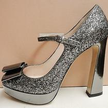 Miu Miu Prada Leather Glitter Peep Toe Bow Heel Platform Pumps Shoes 41 Photo