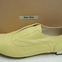 Miu Miu Prada Leather Laceless Metallic Heel Oxford Loafers Flats Shoes 39 Photo