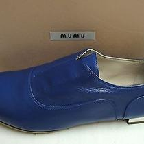 Miu Miu Prada Leather Laceless Metallic Heel Oxford Loafers Flats Shoes 40 Photo