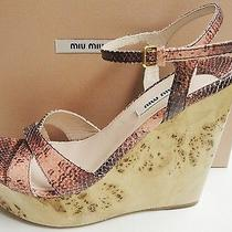 Miu Miu Prada Lizard Stamped Leather Wedge Platform Heel Sandals Shoes 38.5 Photo