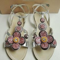 Miu Miu Prada Metallic Silver Glittering Flower T-Strap Sandals Flats Shoes 37 Photo