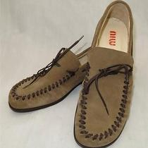 Miu Miu Prada Shoes Suede Moccasins Loafers Khaki 37 1/2  7 1/2 Us Photo