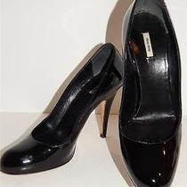 Miu Miu Prada Shoes Sz 37 6.5 / 7 Black Patent Leather Stiletto Classic Pumps Photo