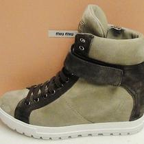 Miu Miu Prada Suede Lace Up Side Zip Hidden Wedge Sneakers Shoes 40 Photo