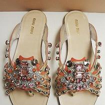 Miu Miu Prada Suede Leather Embellished Crab Thong Sandals Flats Shoes 37 Photo
