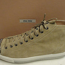 Miu Miu Prada Suede Studded Cap Toe Lace Up Sneakers Shoes 38 Photo