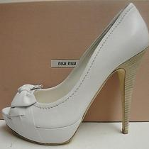 Miu Miu Prada White Leather Bow Peep Toe Hidden Platform Pumps Shoes 40 Photo