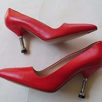 Miu Miu Red Leather Bolt Pointed Toe Heels Pumps 36.5 Photo
