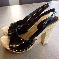 Miu Miu Slingback Lacquered Leather Wooden Heel Studded Authentic 375 Photo