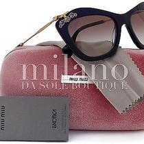 Miu Miu Smu03p Glow Sunglasses Shiny Blue (0ax-0a7) Mu 03ps 03p 53mm Authentic Photo