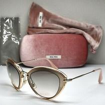 Miu Miu Smu51r Ufd3h2 Clear Blush/gold Graduate Brown Cat Eye Sunglasses. 52mm Photo