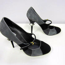 Miu Miu Suede Heels in 3 Shades of Gray & Silver Detailed Heel Size 38- Like New Photo