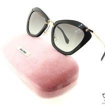 Miu Miu Sunglasses Model 10ns 1ab3m1 Black With Black Gradient Lens Cat Eye New Photo