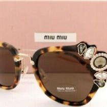 Miu Miu Tortoiseshell Bejeweled Sunglasses With Case Photo