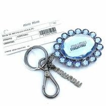 Miu Miu Trick Metallo Oval Crystal Blue Plex Charm Key Chain Key Ring 5tm092 Photo