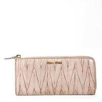 Miu Miu Womens Leather Gold Tone Zip Around Wallet Beige Photo