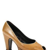 Miu Miu Womens Platform Peep Toe Slip on Pumps Tan Leather Size 36.5 6.5 Photo