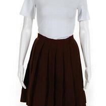 Miu Miu Womens Wool Mid Rise Pleated Skirt Brown Size 38 Italian 0 Usa Photo