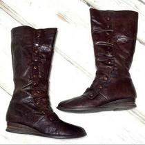 Miz Mooz Bloom Brown Leather Wide Calf Wedge Heel Side Zip Boots 9.5 Photo