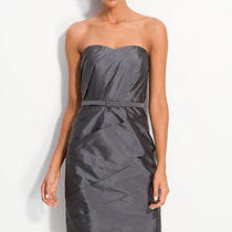 Ml Monique Lhuillierbridesmaid Pleated Taffeta Sheath Dress in Silver  Size 10 Photo