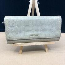 Mm036 Miu Miu St Cocco Lux Leather Croc Leather Large Bifold Wallet  No Reserve Photo